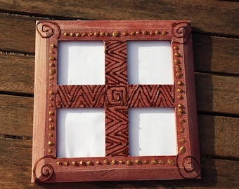 Four African style photo frame