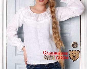 Traditional white linen Blouse, russian blouse, slavic blouse, ethnic blouse, russian cloth, linen blouse, long sleeve blouse, linen shirt