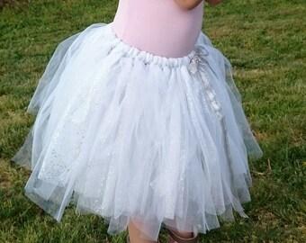 Silver Sparkle fairy tutu skirt ~ Sz 5-8. Sparkly glitter tutu