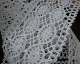 """White Double Cotton Cluny Lace trim 2 1/8"""" wide picot edge crochet look retro choose yards yardage sewing crafts bobbin machine lace"""