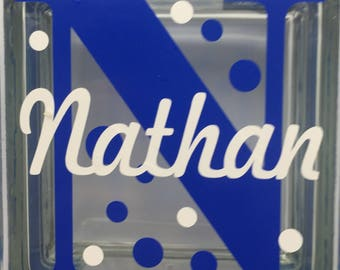 """Glass BLOCK custom name """"Nathan"""".  You can have it custom made with your own personal name and colors."""