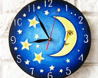 Yellow Moon and Stars, Modern wall clock with numbers, wood clock, white home decor, kids gift, wedding gift.