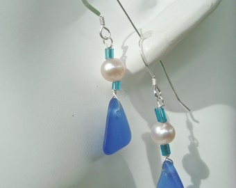 sALE Genuine sea glass And Pearls Earring - Blue- Custom Color- small