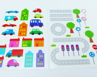 reusable stickers for window city car road House tree 2 boards reusable window decal sticker