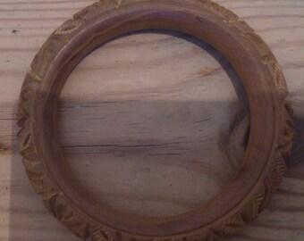 vintage carved wood bangle