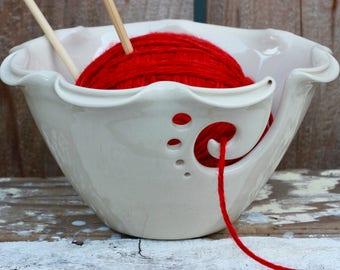 White Ruffled Split Rimmed Ceramic Yarn Bowl, Knitting Bowl, Crochet Bowl, Pottery Yarn Bowl, Made to Order
