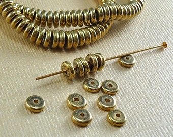 200 Brass Beads Disk 6mm Heishi Disc Spacer Saucer Rondelle flat round India 5.5mm Flat Solid Brass Metal Beads