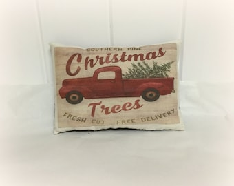 Christmas truck pillow decor | Christmas Pillow | Vintage Red Truck decor | Pickup truck with tree tuck | Christmas decor | stocking stuffer