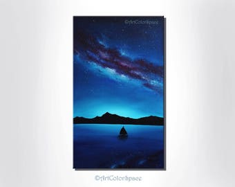 Galaxy painting Milky Way painting Galaxy art Starry sky Painting on canvas Night sky Space art Christmas gift Wall Art