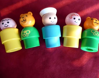 Vintage Fisher Price BIG Little People  1974  to 1984 Collection of FIVE Figures