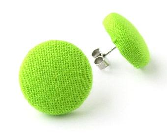 Neon green earrings - solid green stud earrings - green button earrings - fabric earrings - bright green lime harlequin earrings