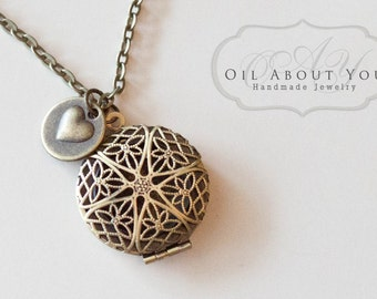 Essential Oil Diffuser Necklace Diffuser Necklace Aromatherapy Necklace Antique Bronze Locket Pendant Filigree Gift For Her Love Heart Scent