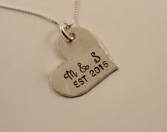 Hand Stamped Sterling Silver Initials Heart Charm Necklace