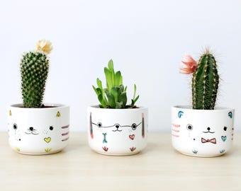 Ceramic planter set of 3 Sherlock inspired, Ceramic plant pot set, Succulent planter, Ceramics pottery, Flower plant pot set, Kawaii planter