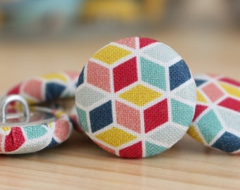 Fabric Covered Buttons - Geometric II - 1 Medium Fabric Buttons