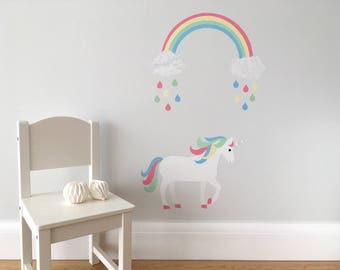 Unicorn and Rainbow Wall Stickers, Rainbow Unicorn, Rainbow Unicorn Wall Decals, Unicorn Nursery, Rainbow Nursery, Pastel Nursery Decor