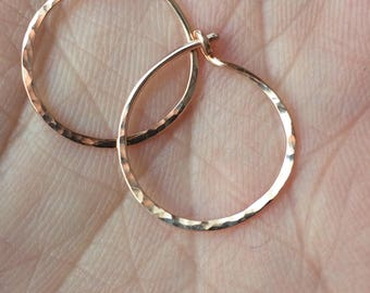 Dainty Gold Hoops - 14k Pink Gold - Hammered Gold Hoops - Delicate Hoops - Solid Gold