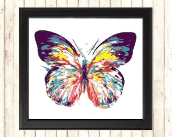 Modern Butterfly Cross Stitch Kit, Painting xstitch, Art xstitch, Counted Cross Stitch Kit, Embroidery Kit, Cross Stitch Design, Abstract