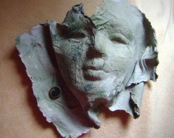 Face sculpture, handmade paper, art faces, paper sculpture