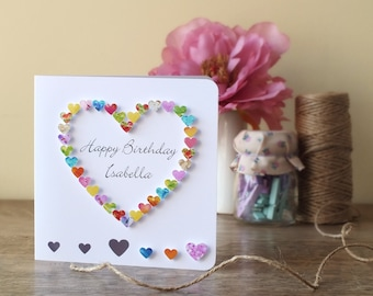 Handmade Personalised Birthday Card - Personalized Happy Birthday Card, Name, Brother, Sister, Friend, Daughter, Mum, Dad, Son, 3D, BHE12