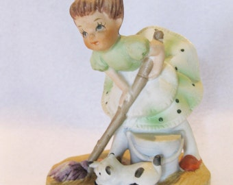 """Vintage ceramic girl and cat """"House work Help"""" sweet face mid centruy 1060 figure"""