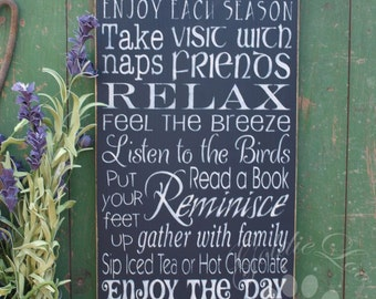 Porch Rules Wood Wall Sign, Typography, Word Art, Subway Art, Handmade