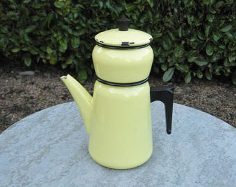 A Vintage French Yellow  Enamel  Coffee Pot / Cafetiere  With Black Rims And Bakelite Handle