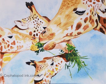 Giraffe #2 Art Print Watercolor 8x10