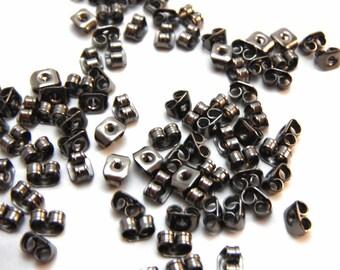50 Metallic Black Butterfly Earnuts For Post Earrings Backs 6x4mm