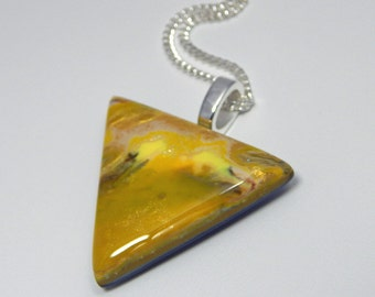 Polymer Clay Triangle Pendant. Triangle Pendant. Triangle Necklace