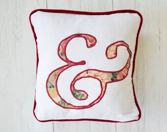 """Ampersand typography linen pillow 12"""" 30cm square with velvet piping 