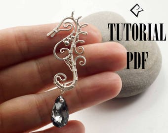 Wire wrap seahorse tutorial, PDF tutorial, Step-by-step instruction, seahorse wire wrapping pendant, wire wrap pendant, jewelry tutorial.