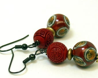 Vintage Chinese Cinnabar RED Bead Dangle Drop Earrings ,Vintage Chinese Porcelain Beads, Vintage German Gold Glass Beads - GIFT WRAPPED