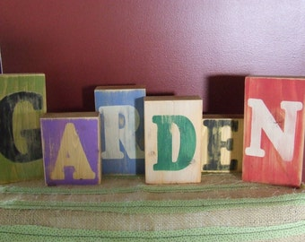 GARDEN Blocks, Rustic, Worn, Weathered Look Wooden Blocks, Garden Decor, Weathered Wood