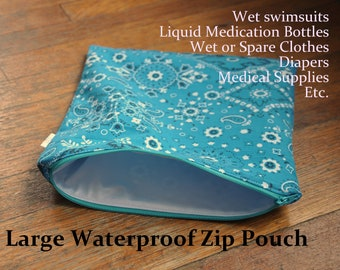 Large Waterproof Zip Pouch / Wet Bag - Many uses. Medical, kids, moms, adults