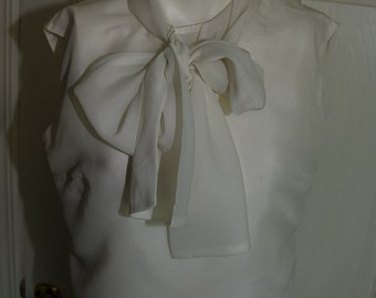 Vintage 1950's Lord & Taylor Chiffon Blouse with Large Bow.
