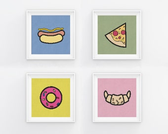 Food Cross Stitch Pattern Collection, 4 in 1, Kitchen Wall Art Decor, Cute  Easy Cross Stitch Charts, PDF Format, Instant Download