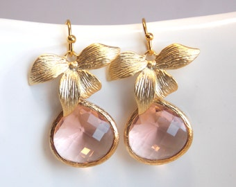 Peach Earrings, Glass, Champagne, Crystal Gold Earrings, Flower, Dangle, Drop, Wedding Jewelry, Bridesmaid Earrings, Bridesmaid Gifts