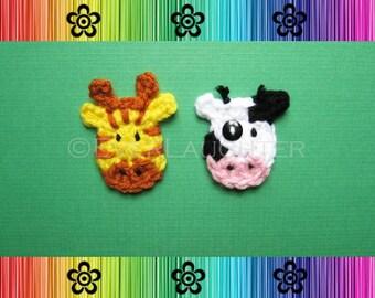 Cow and Giraffe Applique - CROCHET PATTERN