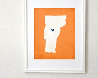 Vermont Silhouette State Map Personalized Art Print