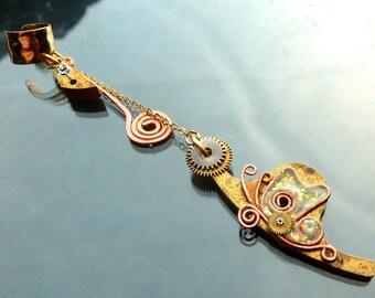 Steampunk Butterfly Ear cuff Antique watch parts gold silver copper gears cogs hands OOAK jewelry
