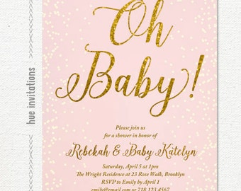 oh baby pink and gold glitter baby shower invitation, confetti sprinkle blush pink baby shower invite, printable baby sprinkle invite 220