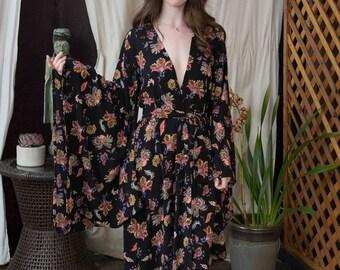 Black Paisley Flower Handmade Kimono with Pockets