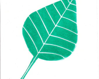 Signed, Limited Edition Abstract Lino Print of a Leaf