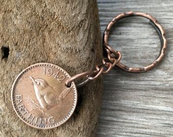 76th or 77th birthday gift, 1941 or 1942 wren farthing keyring, British bird coin keychain, retirement, present for man, woman, dad, mum