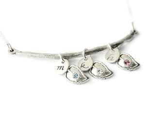 Silver Branch Family Necklace | Personalized Initials | Mother's Day Gift | Leaves Birthstone Crystals |  | Leaf Charms