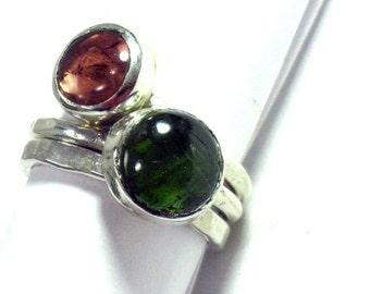 Stacking Silver Gemstone Ring, Mothers Ring, October Gemstone, Thin Ring, Stackable ring, Green Tourmaline Ring, Peach Tourmaline