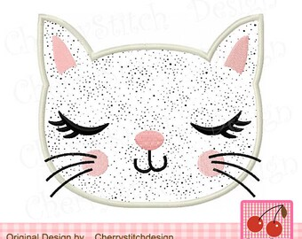 Kitty Face Kitty Cat Embroidery Applique Design  AN0031 -4x4 5x5 6x6""