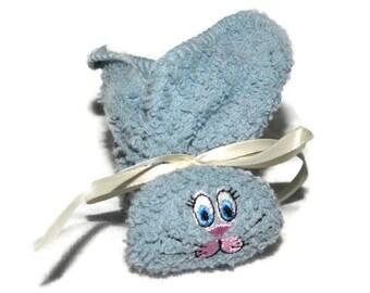 Stocking Stuffer Bunny Ice Pack Boo-boo Bunny Embroidered for Baby, Shower, Gift Basket Light Denim Blue Rabbit Stocking Stuffer