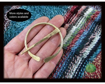 Shawl Pin Brass Shawl Pin Penannular Shawl Pin Hammered Lines